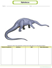 prehistoric animals worksheet for kids, learn about diplodocus