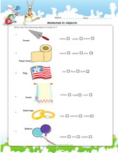 Material of objects worksheet for kids pdf