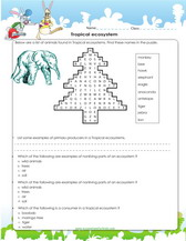 Ecosystems, games, worksheets, quizzes for kids
