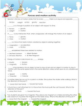 Force and motion worksheets 5th grade pdf
