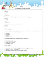 4th grade science worksheets PDF Printable