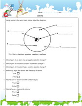 Atoms and elements worksheets, games, quizzes for kids