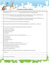 5th grade science worksheets, PDF Printable