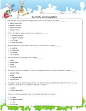 Electricity and magnetism worksheets for 4th grade